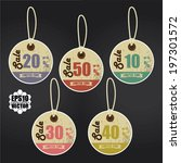 vector  vintage style sale tags ... | Shutterstock .eps vector #197301572