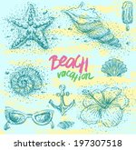 set of hand drawn summer icons | Shutterstock .eps vector #197307518