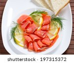 sliced salted salmon served... | Shutterstock . vector #197315372