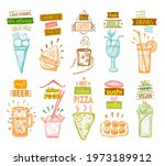 ice cream  fresh juice ... | Shutterstock .eps vector #1973189912
