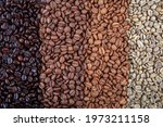 Small photo of Coffee beans are double roasted. Coffee papers showing various roasting stages from green beans to Italian roast.
