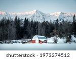 Snowy Red Barn In Fernie