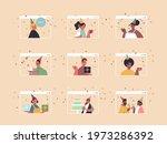 set people in festive hats... | Shutterstock .eps vector #1973286392