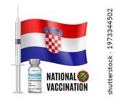 flag of croatia with vaccine...   Shutterstock .eps vector #1973344502