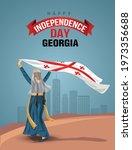 georgian girl with waving flag. ... | Shutterstock .eps vector #1973356688