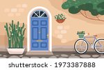 front wooden door with knocker...   Shutterstock .eps vector #1973387888