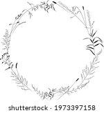 a wreath of plants of meadows... | Shutterstock .eps vector #1973397158