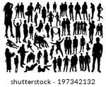people silhouettes set | Shutterstock .eps vector #197342132