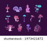 beautiful fantasy mushrooms set.... | Shutterstock .eps vector #1973421872