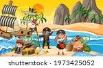 treasure island scene at sunset ... | Shutterstock .eps vector #1973425052