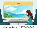 the girl looks thoughtfully... | Shutterstock .eps vector #1973484242
