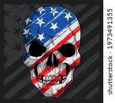 Human Skull Head With American...
