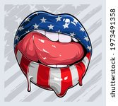 woman lips with american flag... | Shutterstock .eps vector #1973491358