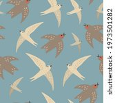 Seamless Pattern With Swallows...