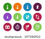 chess figures circle icons on...