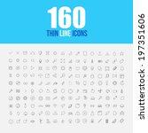 set of 160 thin line icons... | Shutterstock .eps vector #197351606