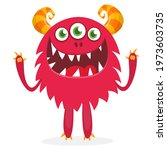 happy cartoon monster....   Shutterstock .eps vector #1973603735