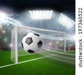 soccer ball flies into the goal   Shutterstock . vector #197360522