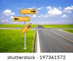 signpost direction pole beside... | Shutterstock . vector #197361572