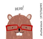 funny beaver with red glasses.... | Shutterstock .eps vector #1973706995