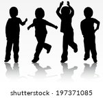 happy boys silhouettes | Shutterstock .eps vector #197371085