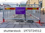 Small photo of Stockholm, Sweden - May 10, 2021: Explanatory sign saying that City of Stockholm is building 8000 new parking places for bicycles between year 2019 and 2022