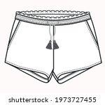 Short pants flat sketch. Technical drawing of shorts for girls. Short pants vector