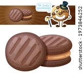 chocolate cookie with peanut... | Shutterstock . vector #1973846252