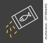 pet fish feed vector icon on...