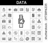 data icon set. line icon style. ...