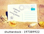 summertime post card with sea... | Shutterstock . vector #197389922