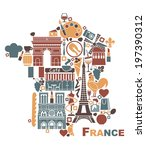 symbols of france in the form... | Shutterstock .eps vector #197390312