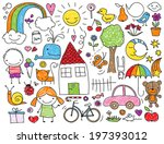 collection of cute children's... | Shutterstock .eps vector #197393012