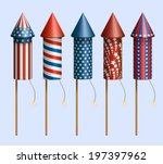 set of pyrotechnic rockets ... | Shutterstock .eps vector #197397962