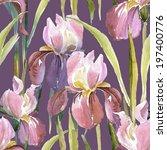 pink iris seamless pattern | Shutterstock . vector #197400776