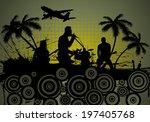 grunge music srtyle. vector... | Shutterstock .eps vector #197405768
