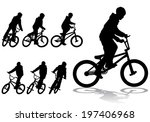 a boy rides a bicycle on a walk | Shutterstock .eps vector #197406968