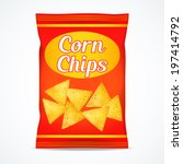 corn chips packet bag  isolated ... | Shutterstock .eps vector #197414792