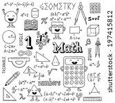 math doodles. hand drawn.... | Shutterstock .eps vector #197415812