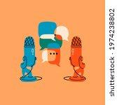table microphones and speech... | Shutterstock .eps vector #1974238802