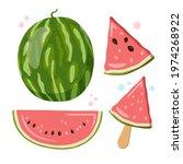 a whole green watermelon  half...   Shutterstock .eps vector #1974268922