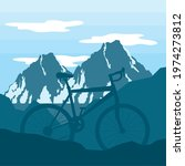 bicycle on snowy mountains... | Shutterstock .eps vector #1974273812