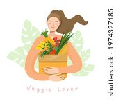 young woman holding natural...   Shutterstock .eps vector #1974327185