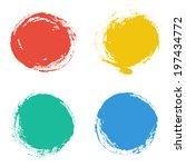 set of vector round grunge... | Shutterstock .eps vector #197434772