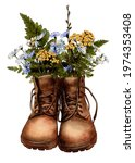 Watercolor Brown Vintage Boots...