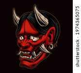 japanese oni demon vector... | Shutterstock .eps vector #1974365075