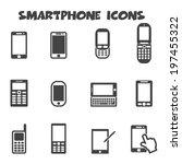 smartphone icons  mono vector... | Shutterstock .eps vector #197455322