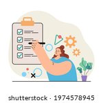woman character holding pencil... | Shutterstock .eps vector #1974578945