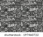 seamless doodle baby pattern | Shutterstock .eps vector #197460722