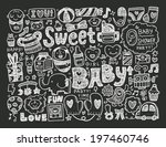 doodle baby background | Shutterstock .eps vector #197460746